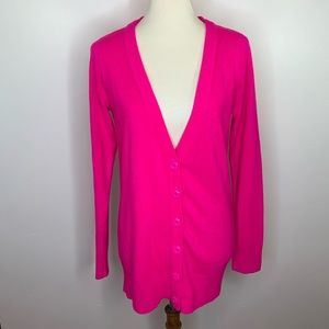 Forever 21 Bright Pink Button Up Cardigan Size L